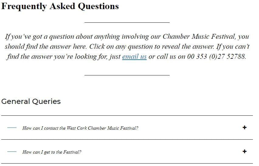 FAQs screenshot