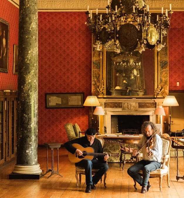 Musicians; Dennis Cahil and Martin Hayes, performing in Bantry House as part of Masters of Tradition 2017.