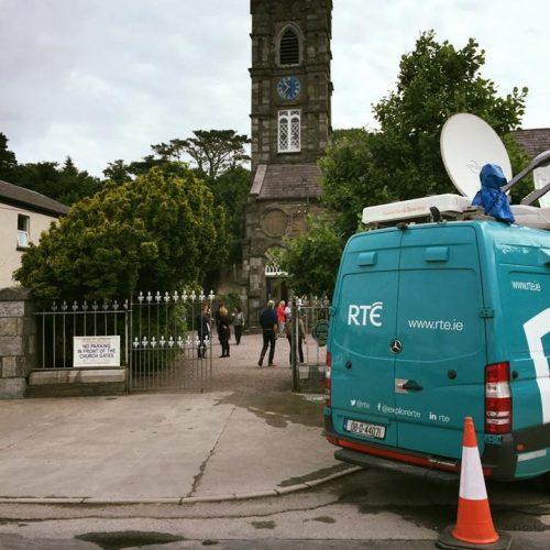 RTE van at St Brendan's Church