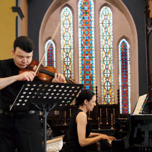 Vadim Gluzman and Angela Yoffe in St Brendan's Church, Bantry